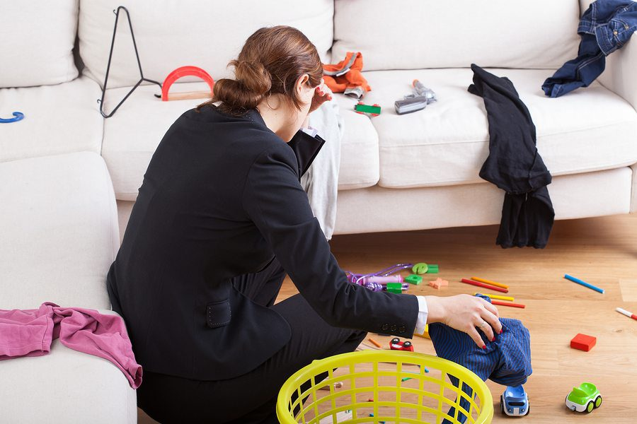 Active busy woman is exhausted her steady workload