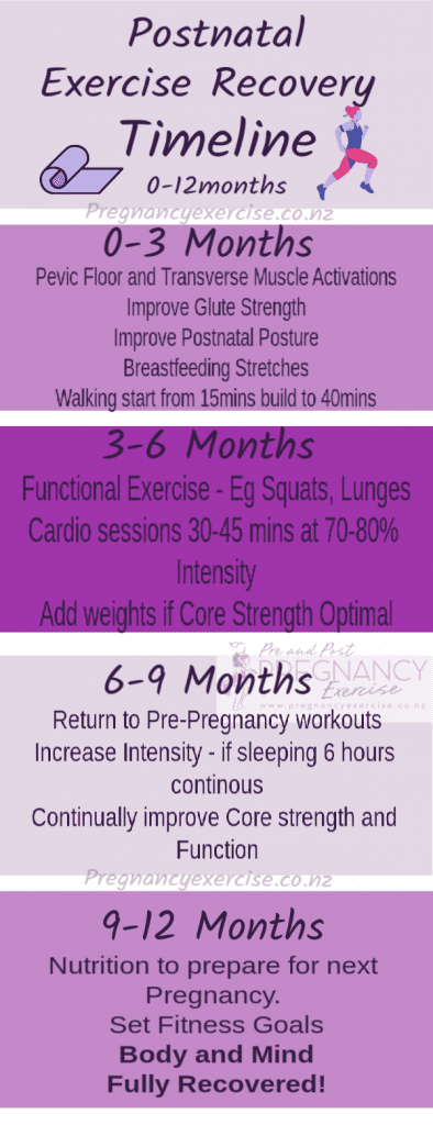 Postnatal Exercise Recovery Timeline 0-12 months, you will want to repin and share this image.